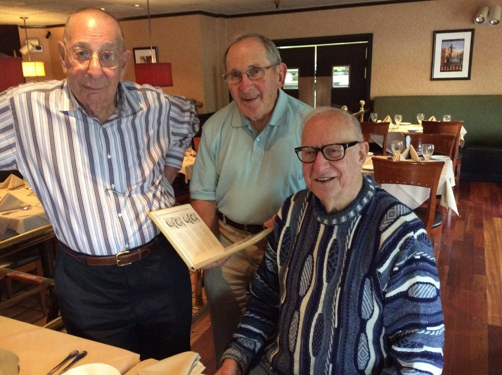 At Marco Polo restaurant in Jenkintown this week Ed Jawer, Norman Salvat and Gerry King discussed their Central class, the school and their upcoming reunion.
