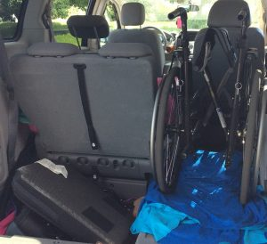 The family has a chair it keeps in the van for Erin. It requires some assembly and disassembly.